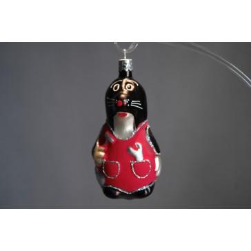 Vánoční ozdoba krtek F430 červený 10cm