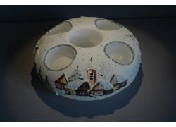 Vánoční svícen kruhový na 4 svíčky 20cm bílý / stříbrné sypání