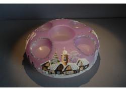 Vánoční svícen kruhový na 4 svíčky 20cm fialový / stříbrné sypání