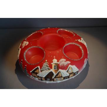 Vánoční svícen kruhový na 4 svíčky 20cm červený / stříbrné sypání