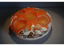 Vánoční svícen kruhový na 4 svíčky 20cm oranžový / stříbrné sypání