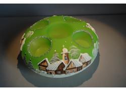 Vánoční svícen kruhový na 4 svíčky 20cm světle zelený / stříbrné sypání