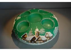 Vánoční svícen kruhový na 4 svíčky 20cm zelený / stříbrné sypání
