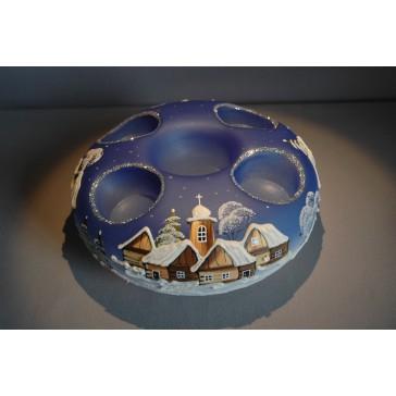 Vánoční svícen kruhový na 4 svíčky 20cm modrý / stříbrné sypání