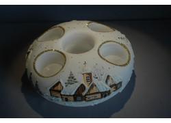Vánoční svícen kruhový na 4 svíčky 20cm bílý / zlaté sypání
