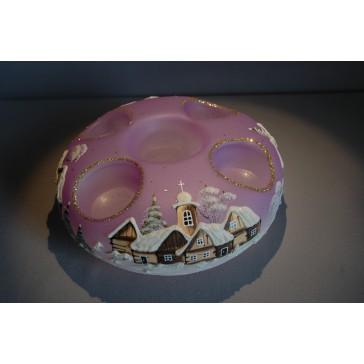 Vánoční svícen kruhový na 4 svíčky 20cm fialový / zlaté sypání