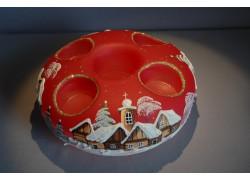 Vánoční svícen kruhový na 4 svíčky 20cm červený / zlaté sypání