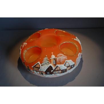Vánoční svícen kruhový na 4 svíčky 20cm oranžový / zlaté sypání