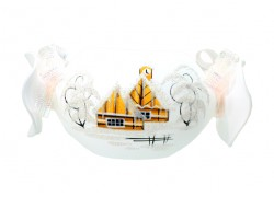 Christmas candlestick - in the shape of a white candy www.sklenenevyrobky.cz