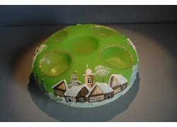 Vánoční svícen kruhový na 4 svíčky 20cm světle zelený / zlaté sypání