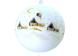 Christmas balls 18cm white www.sklenenevyrobky.cz