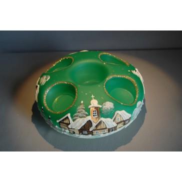 Vánoční svícen kruhový na 4 svíčky 20cm zelený / zlaté sypání