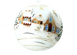Vánoční koule, 18cm, bílá, s vánočním dekorem www.sklenenevyrobky.cz