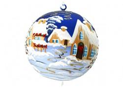 Vánoční koule, 18cm, modrá, s vánočním dekorem Christmas www.sklenenevyrobky.cz