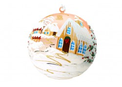 Christmas balls, 18cm, pink, with Christmas decor www.sklenenevyrobky.cz