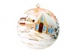 Vánoční koule, 18cm, růžová, s vánočním dekorem www.sklenenevyrobky.cz
