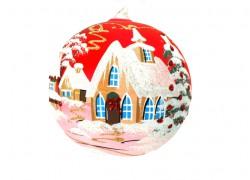 Vánoční koule, 18cm, červená, s vánočním dekorem www.sklenenevyrobky.cz