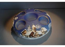 Vánoční svícen kruhový na 4 svíčky 20cm modrý / zlaté sypání