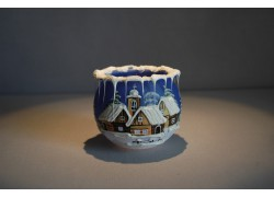 Christmas candle holder for tea candle, blue 8cm www.sklenenevyrobky.cz