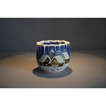 Vianočný svietnik na čajovú sviečku, modrý 8cm www.sklenenevyrobky.cz