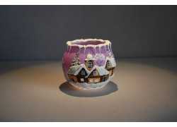 Christmas candle holder for tea candle, pink 8cm www.sklenenevyrobky.cz