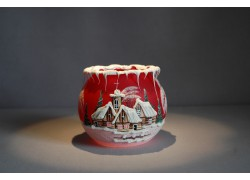 Christmas candle holder in red 10cm www.sklenenevyrobky.cz