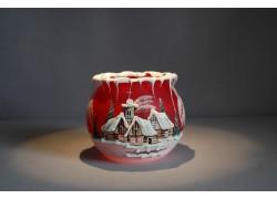 Vánoční kalíšek na svíčku 10cm grafika III. červený