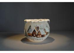 Vánoční svícen na svíčku v bílé barvě 10cm www.sklenenevyrobky.cz
