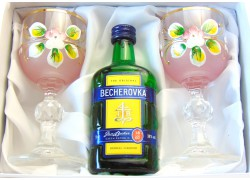 Becherovka gift set painted glasses