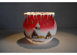 Christmas candle holder for tea candle, red 12cm www.sklenenevyrobky.cz