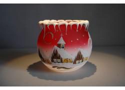 Vánoční svícen na čajovou svíčku, červený 12cm www.sklenenevyrobky.cz