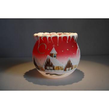 Vianočný svietnik na čajovú sviečku, červený 12cm www.sklenenevyrobky.cz