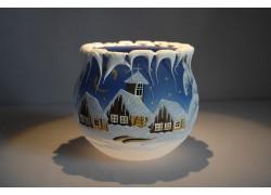 Christmas candle holder for tea candle, blue 12cm www.sklenenevyrobky.cz