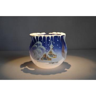 Vánoční svícen na čajovou svíčku, modrý 10cm www.sklenenevyrobky.cz