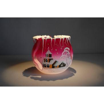 Vánoční kalíšek na svíčku 10cm řezaný růžový