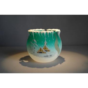 Vánoční svícen na čajovou svíčku, zelený 10cm www.sklenenevyrobky.cz