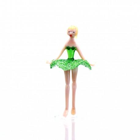 Skleněná baletka 14cm zelená