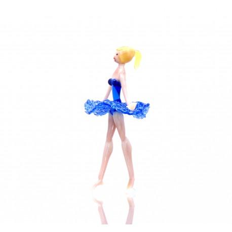 Skleněná baletka 14cm modrá