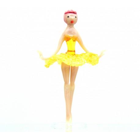 Skleněná baletka 14cm žlutá