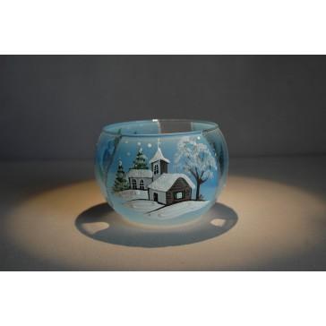 Vánoční miska 10cm řezaná světle modrá