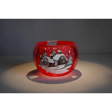 Vianočný svietnik na sviečku, červený dizajn 10cm www.sklenenevyrobky.cz