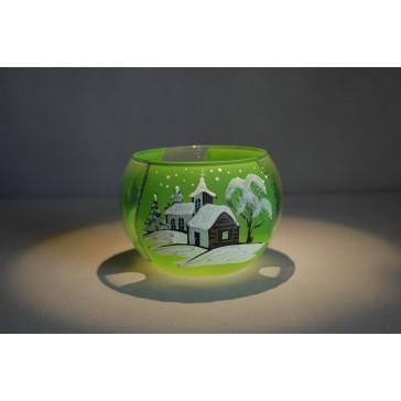 Vánoční miska 10cm řezaná světle zelená
