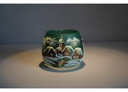 Vánoční sklenička I.na svíčku 8,5cm den / noc tmavě zelená