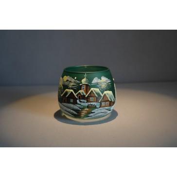 Vianočný pohár na sviečku, tmavo zelený odtieň www.sklenenevyrobky.cz