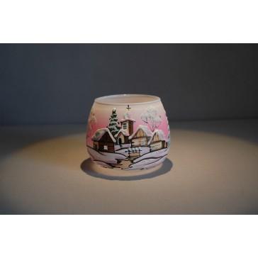 Vánoční sklenička I. na svíčku 8,5cm den / noc růžová