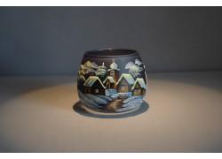 Vánoční sklenička I. na svíčku 8,5cm den / noc tmavě modrá