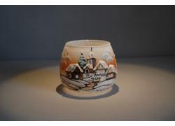Vianočný pohár na sviečku, oranžový odtieň