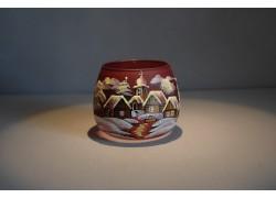 Vánoční sklenička I. na svíčku 8,5cm den / noc bordó