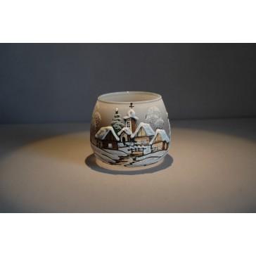 Vánoční sklenička I. na svíčku 8,5cm den / noc šedá