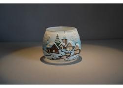 Vianočný pohár na sviečku, v svetle modrom odtieni
